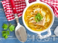 Вкусна бистра супа с картофи, свинско месо и фиде (без застройка)